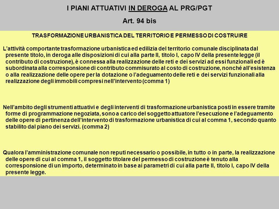 I PIANI ATTUATIVI IN DEROGA AL PRG/PGT Art. 94 bis