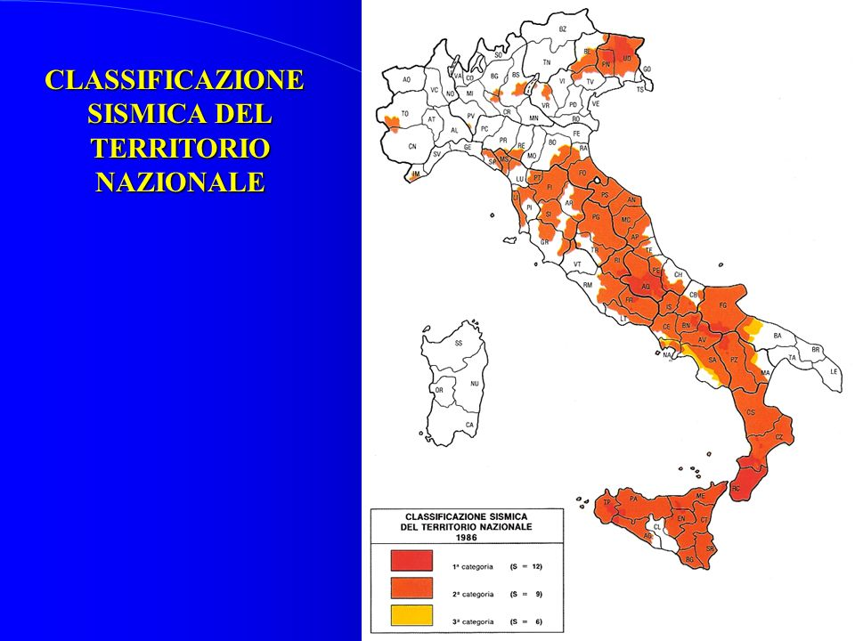 CLASSIFICAZIONE SISMICA DEL TERRITORIO NAZIONALE
