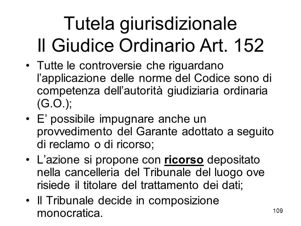 Tutela giurisdizionale Il Giudice Ordinario Art. 152