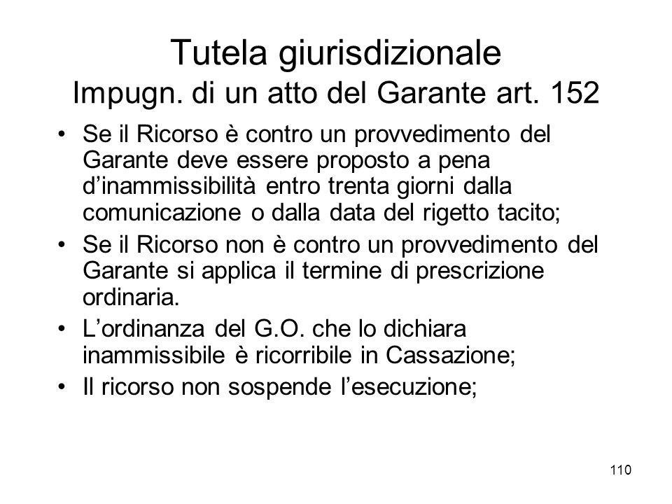 Tutela giurisdizionale Impugn. di un atto del Garante art. 152