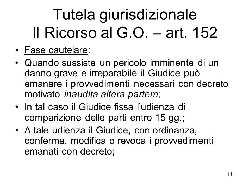 Tutela giurisdizionale Il Ricorso al G.O. – art. 152