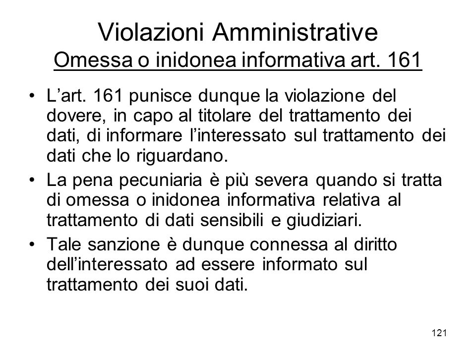 Violazioni Amministrative Omessa o inidonea informativa art. 161