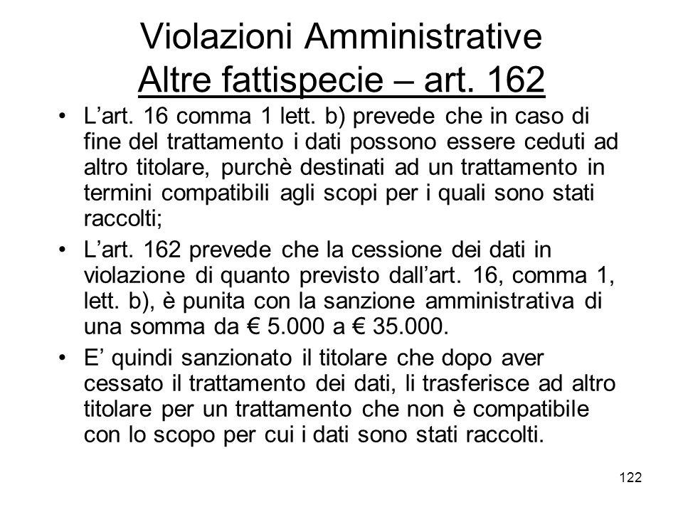 Violazioni Amministrative Altre fattispecie – art. 162