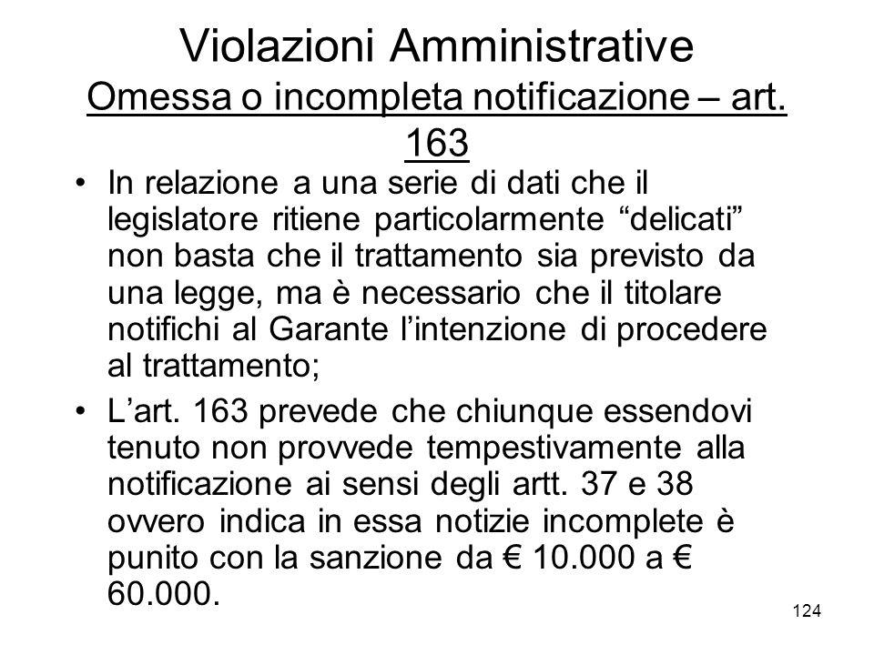 Violazioni Amministrative Omessa o incompleta notificazione – art. 163