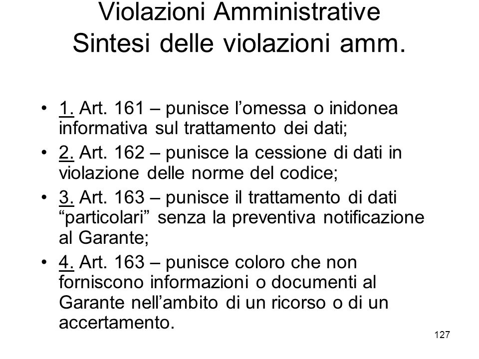 Violazioni Amministrative Sintesi delle violazioni amm.