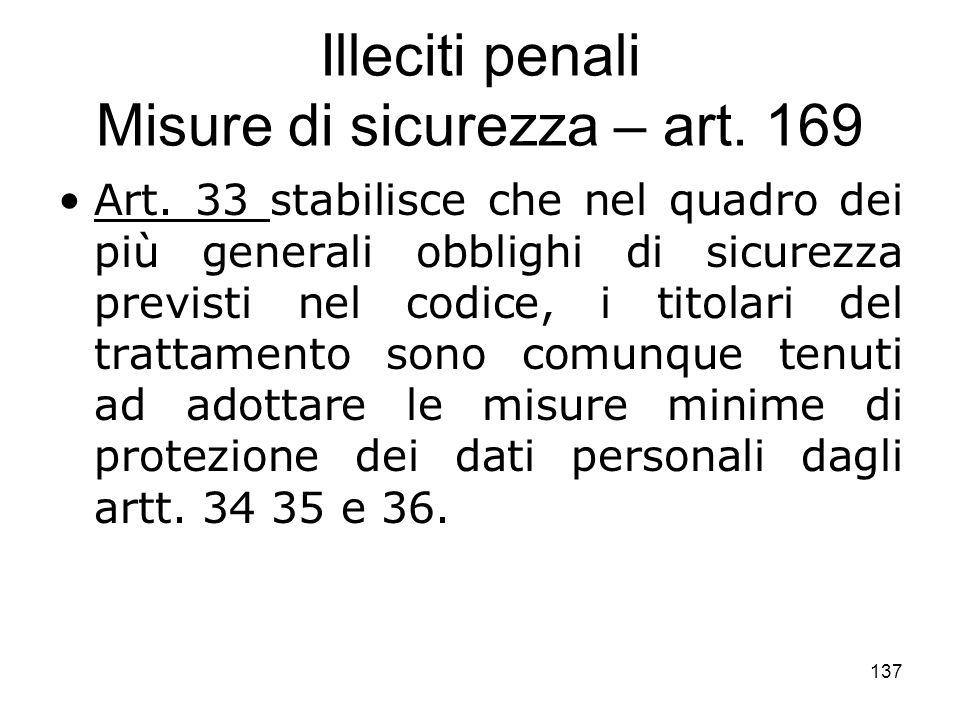 Illeciti penali Misure di sicurezza – art. 169