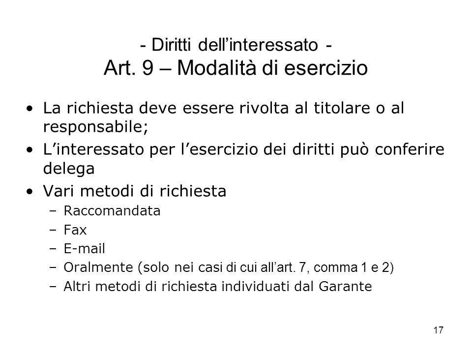 - Diritti dell'interessato - Art. 9 – Modalità di esercizio