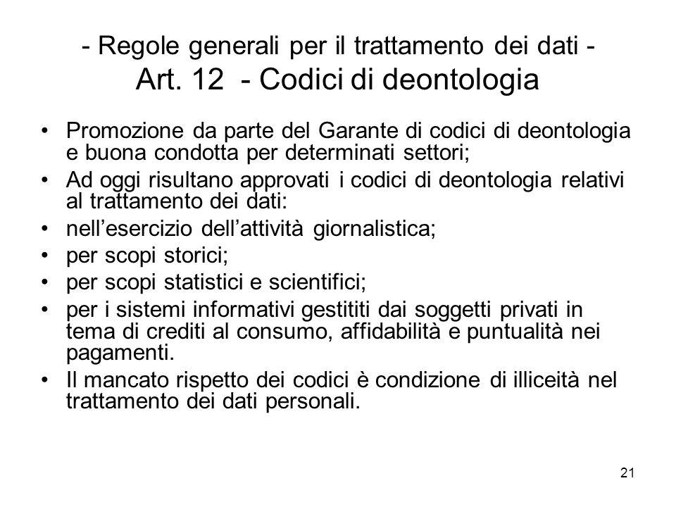 - Regole generali per il trattamento dei dati - Art