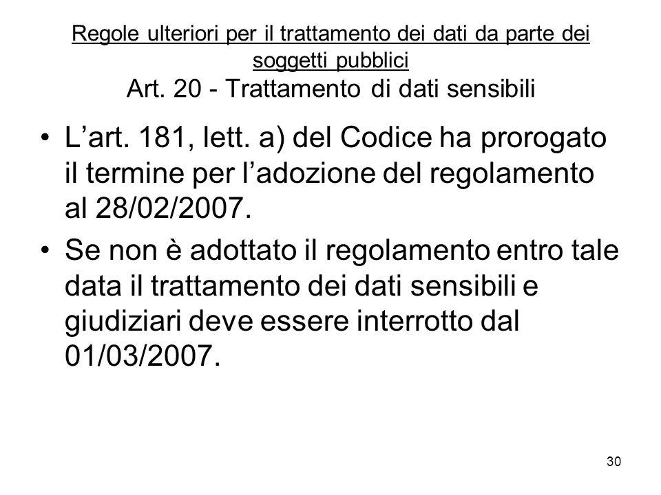 Regole ulteriori per il trattamento dei dati da parte dei soggetti pubblici Art. 20 - Trattamento di dati sensibili