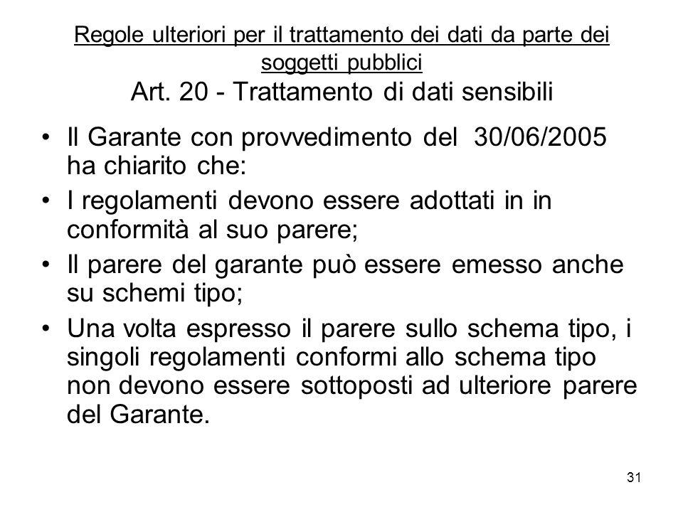 Il Garante con provvedimento del 30/06/2005 ha chiarito che: