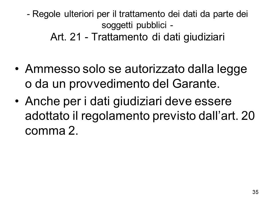 - Regole ulteriori per il trattamento dei dati da parte dei soggetti pubblici - Art. 21 - Trattamento di dati giudiziari
