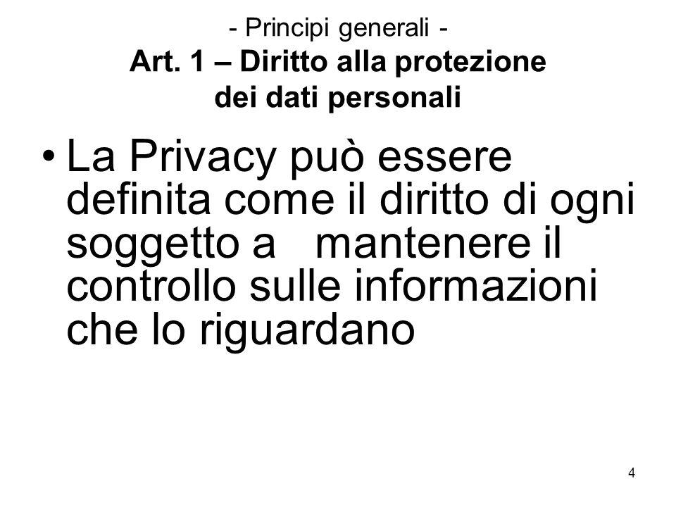 - Principi generali - Art