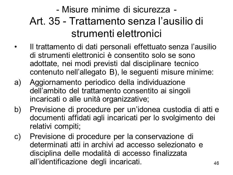 - Misure minime di sicurezza - Art