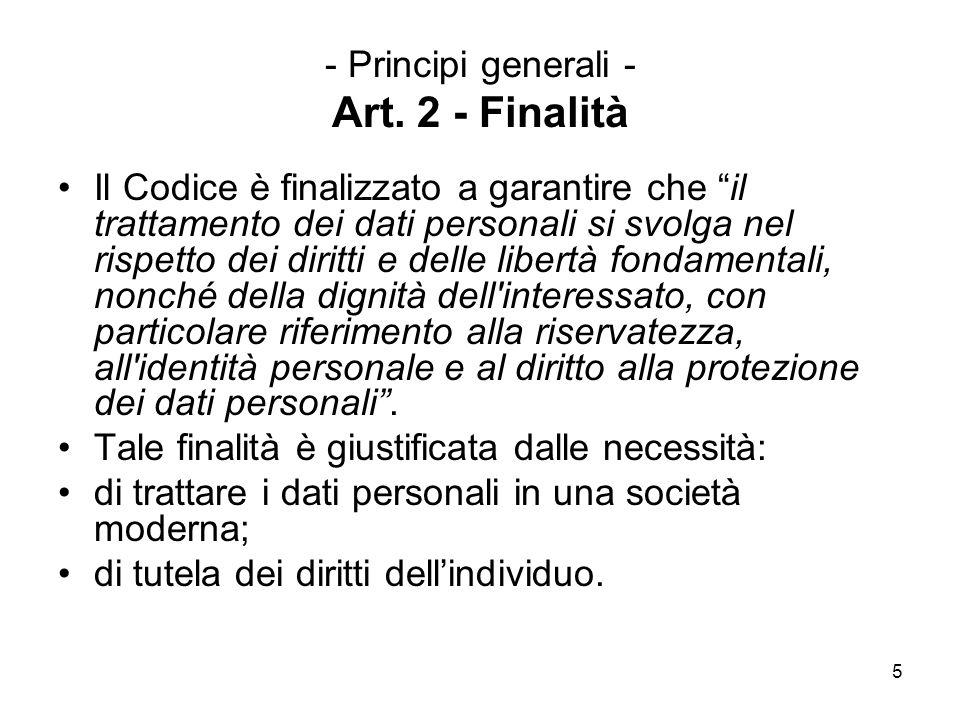 - Principi generali - Art. 2 - Finalità