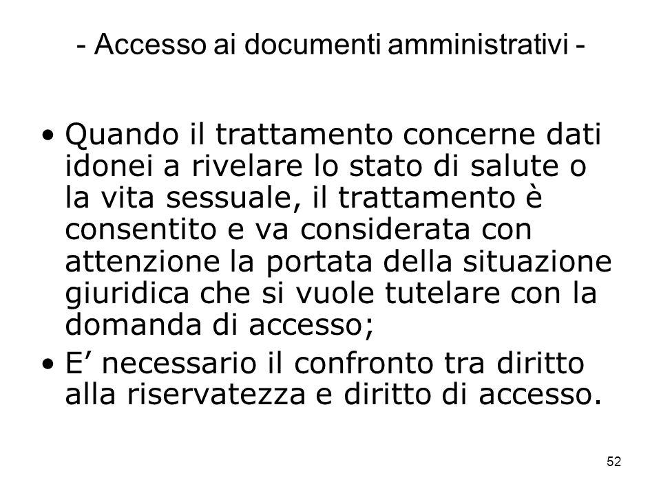 - Accesso ai documenti amministrativi -