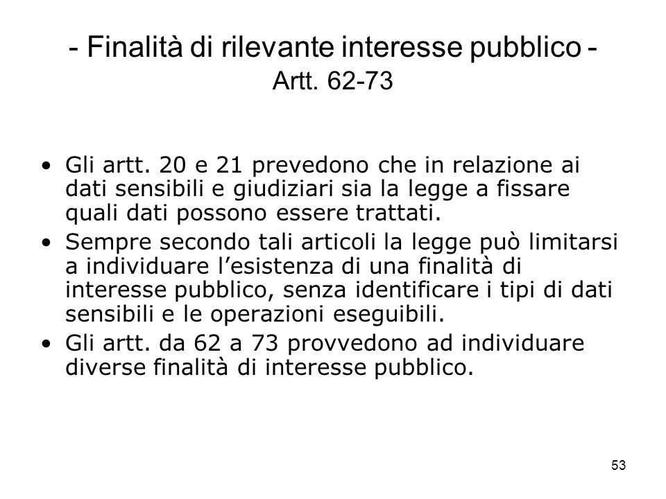 - Finalità di rilevante interesse pubblico - Artt. 62-73