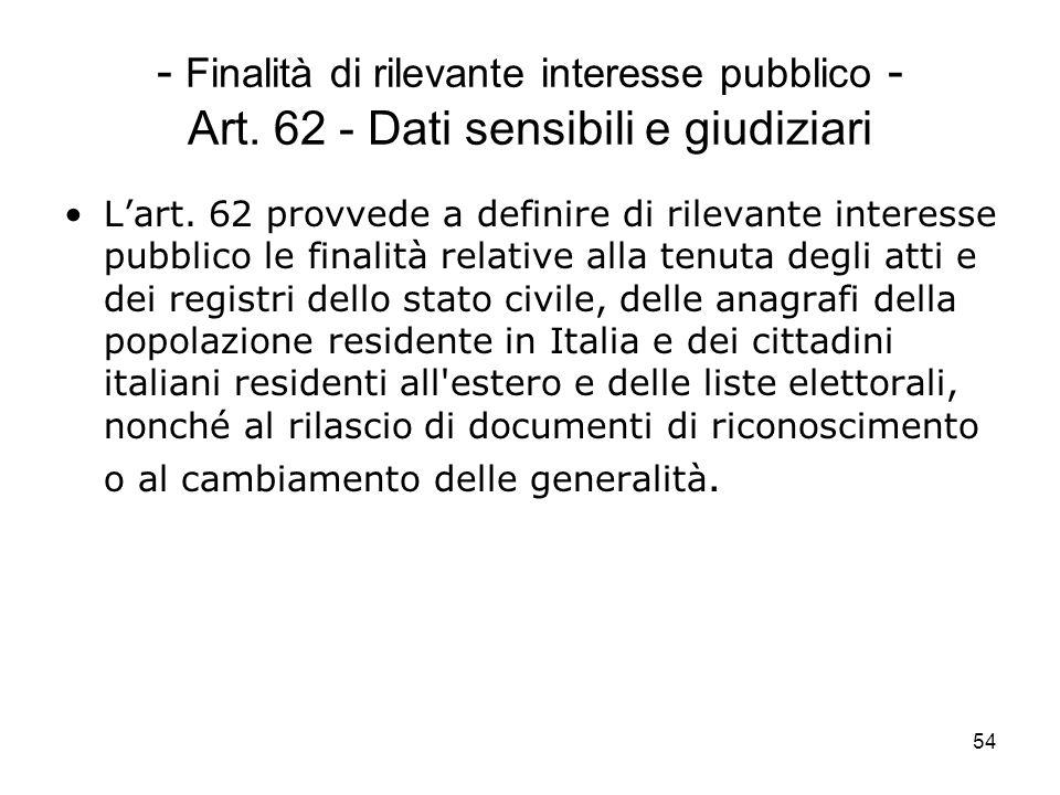 Finalità di rilevante interesse pubblico - Art