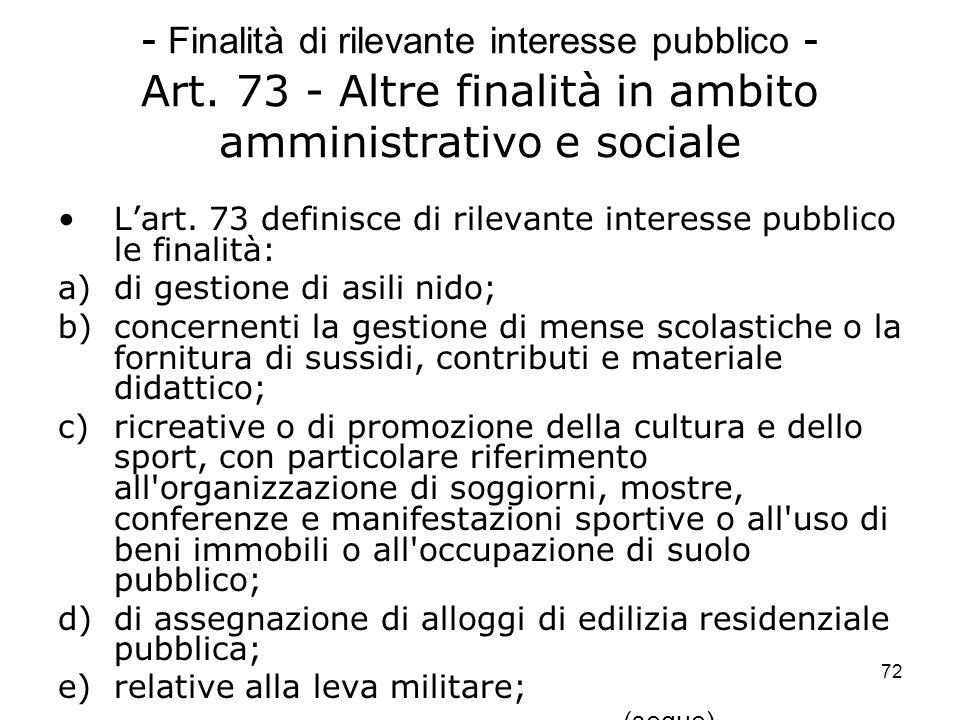 - Finalità di rilevante interesse pubblico - Art
