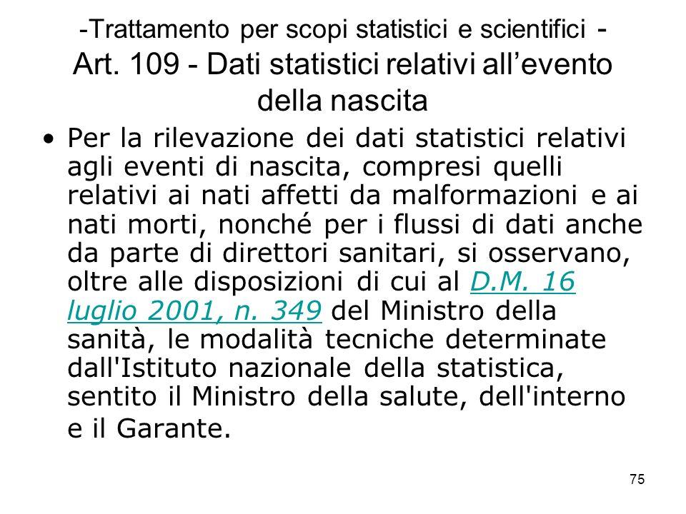 Trattamento per scopi statistici e scientifici - Art
