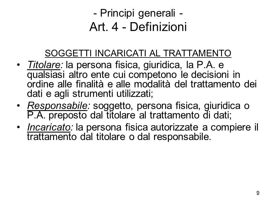 - Principi generali - Art. 4 - Definizioni