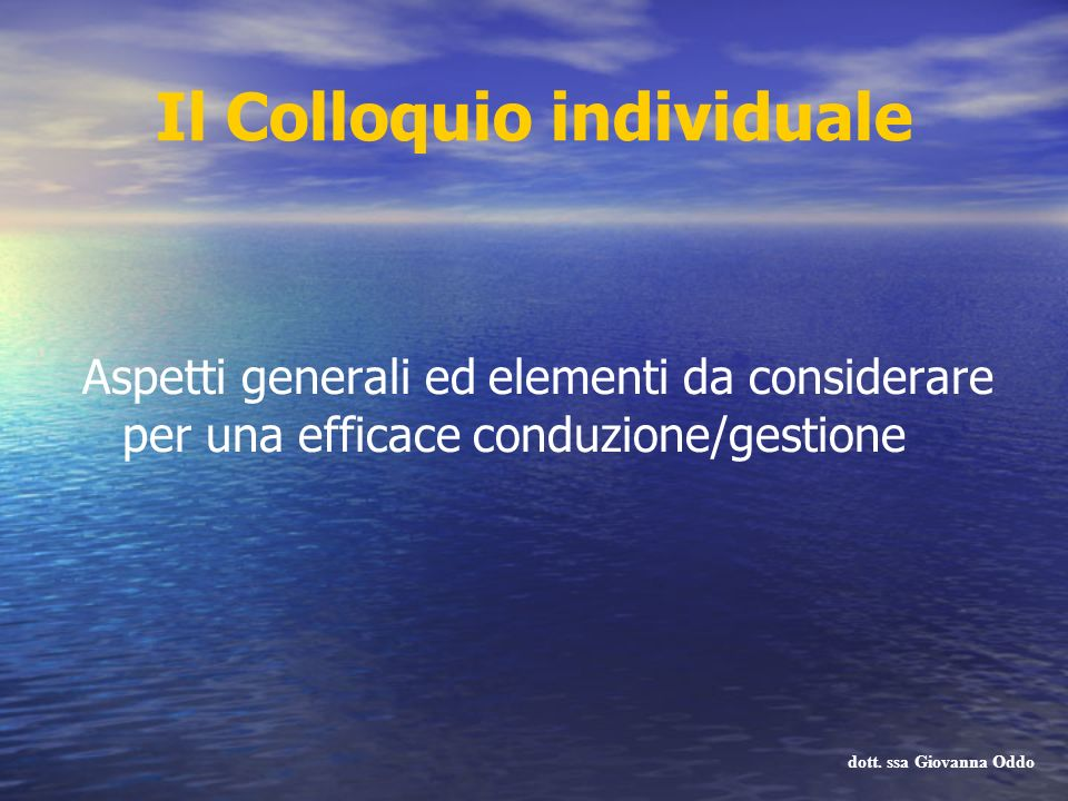 Il Colloquio individuale