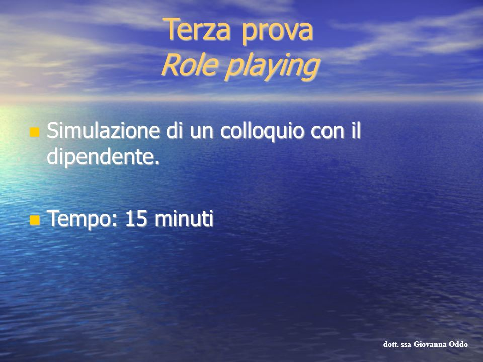 Terza prova Role playing