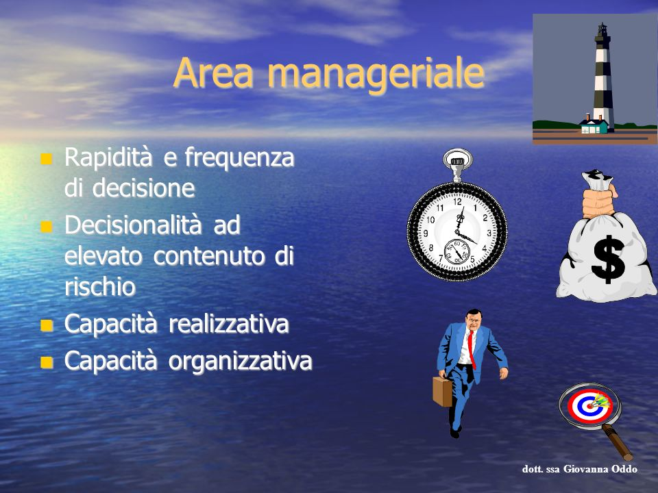 Area manageriale Rapidità e frequenza di decisione