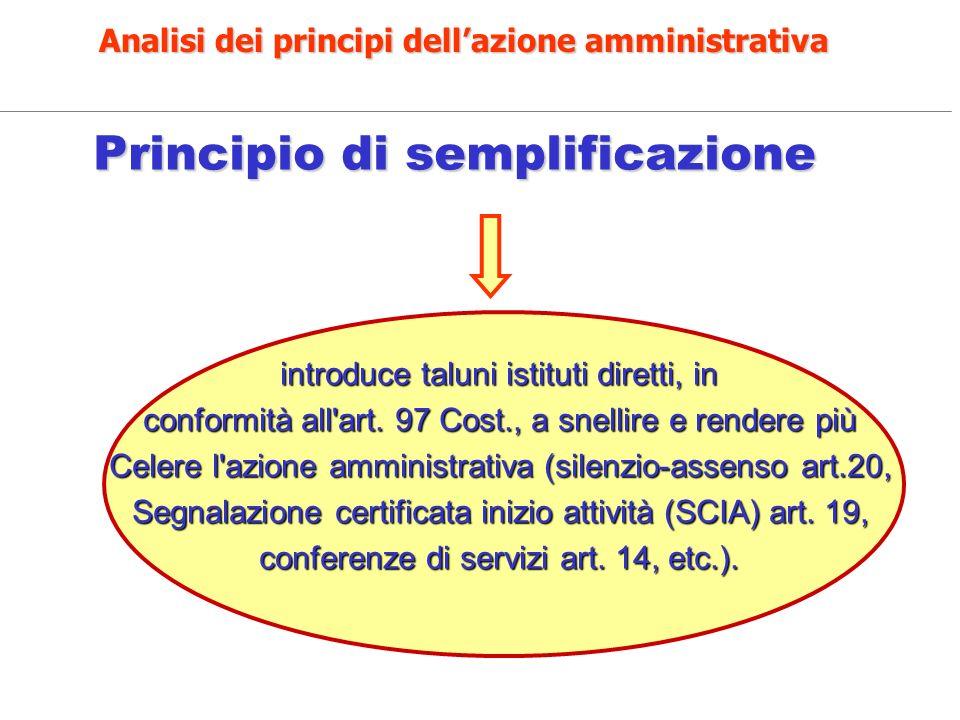 Analisi dei principi dell'azione amministrativa