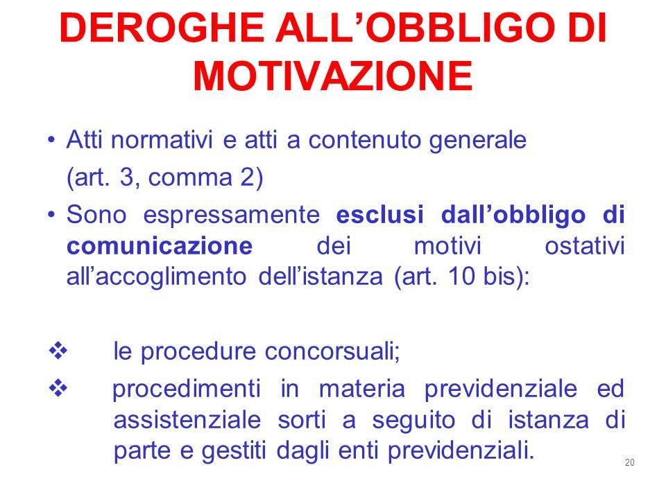 DEROGHE ALL'OBBLIGO DI MOTIVAZIONE
