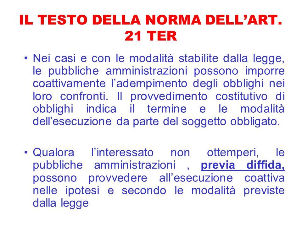 IL TESTO DELLA NORMA DELL'ART. 21 TER
