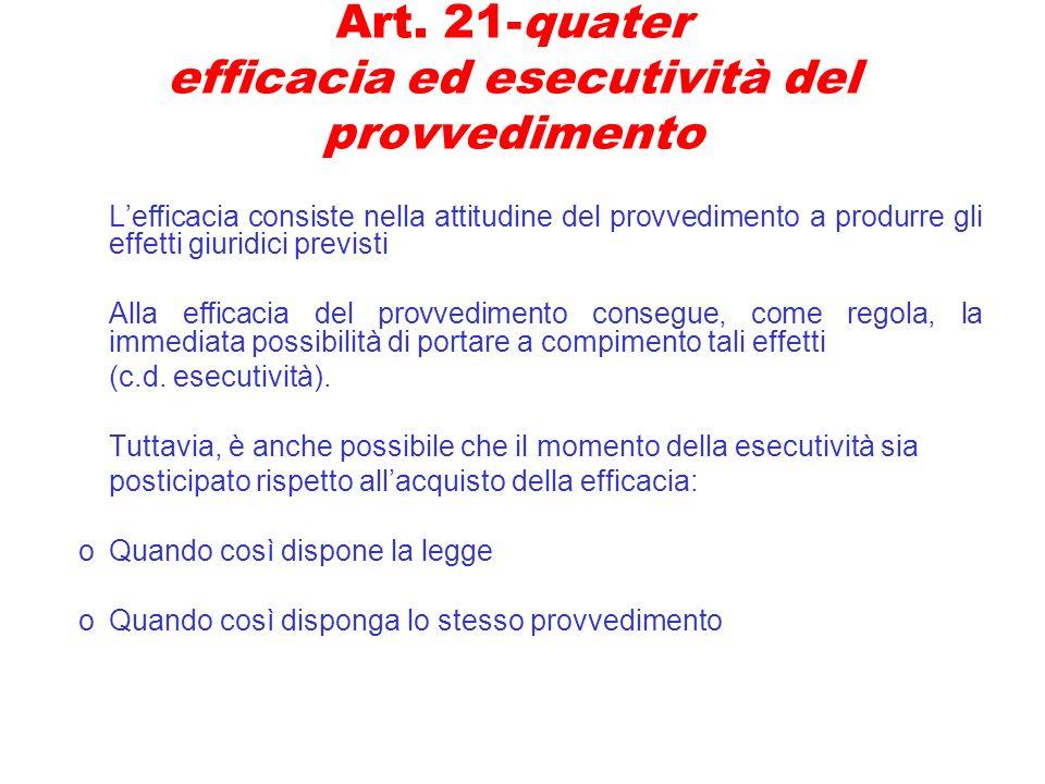 Art. 21-quater efficacia ed esecutività del provvedimento