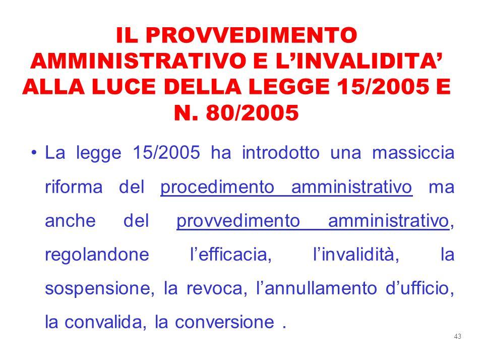 IL PROVVEDIMENTO AMMINISTRATIVO E L'INVALIDITA' ALLA LUCE DELLA LEGGE 15/2005 E N. 80/2005