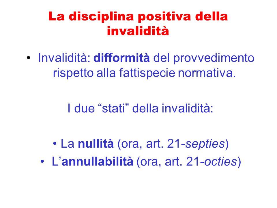 La disciplina positiva della invalidità