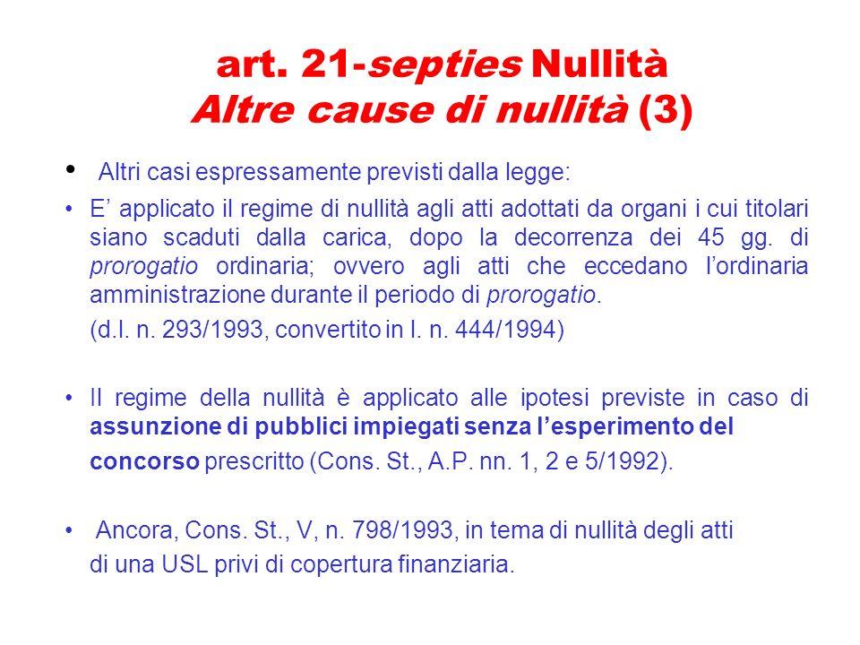 art. 21-septies Nullità Altre cause di nullità (3)