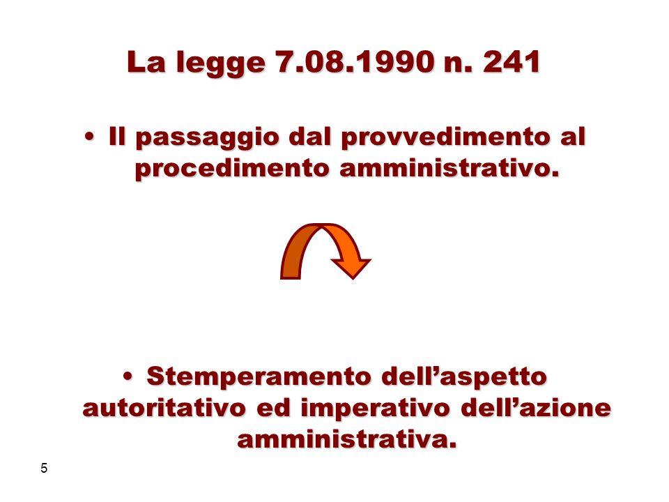 Il passaggio dal provvedimento al procedimento amministrativo.