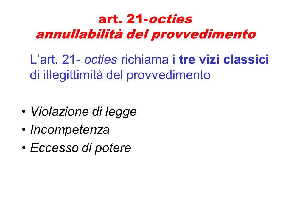 art. 21-octies annullabilità del provvedimento
