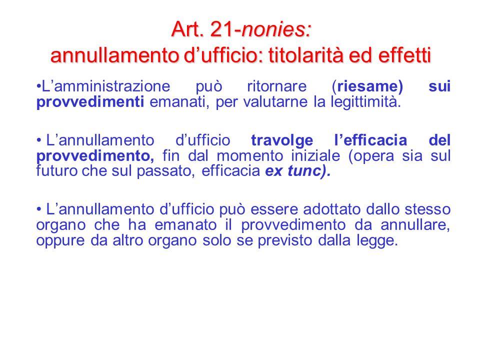 Art. 21-nonies: annullamento d'ufficio: titolarità ed effetti