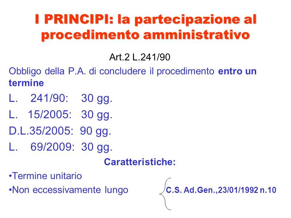 I PRINCIPI: la partecipazione al procedimento amministrativo