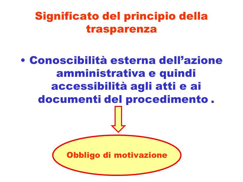 Significato del principio della trasparenza