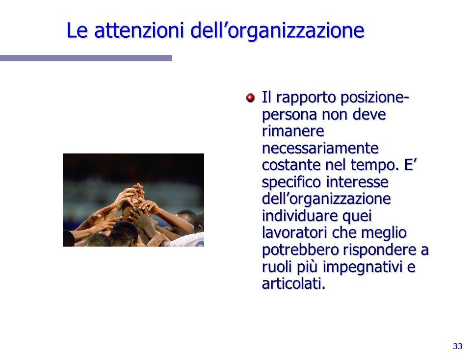 Le attenzioni dell'organizzazione