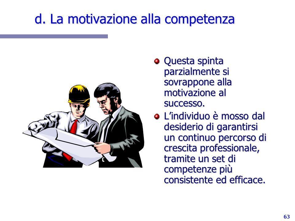 d. La motivazione alla competenza