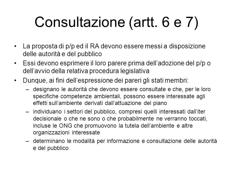 Consultazione (artt. 6 e 7)