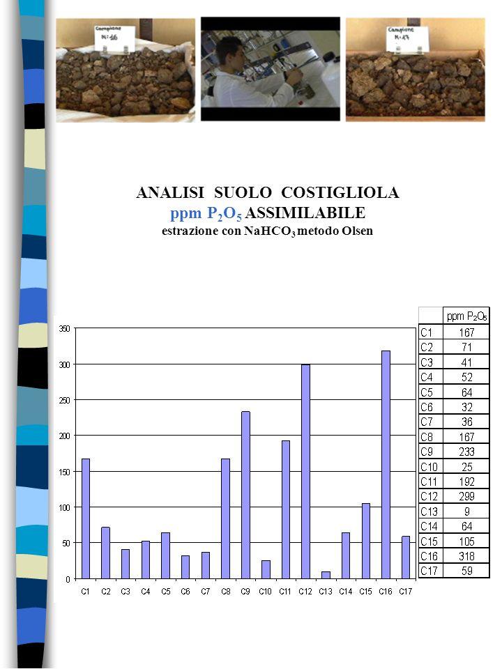 ANALISI SUOLO COSTIGLIOLA ppm P2O5 ASSIMILABILE estrazione con NaHCO3 metodo Olsen