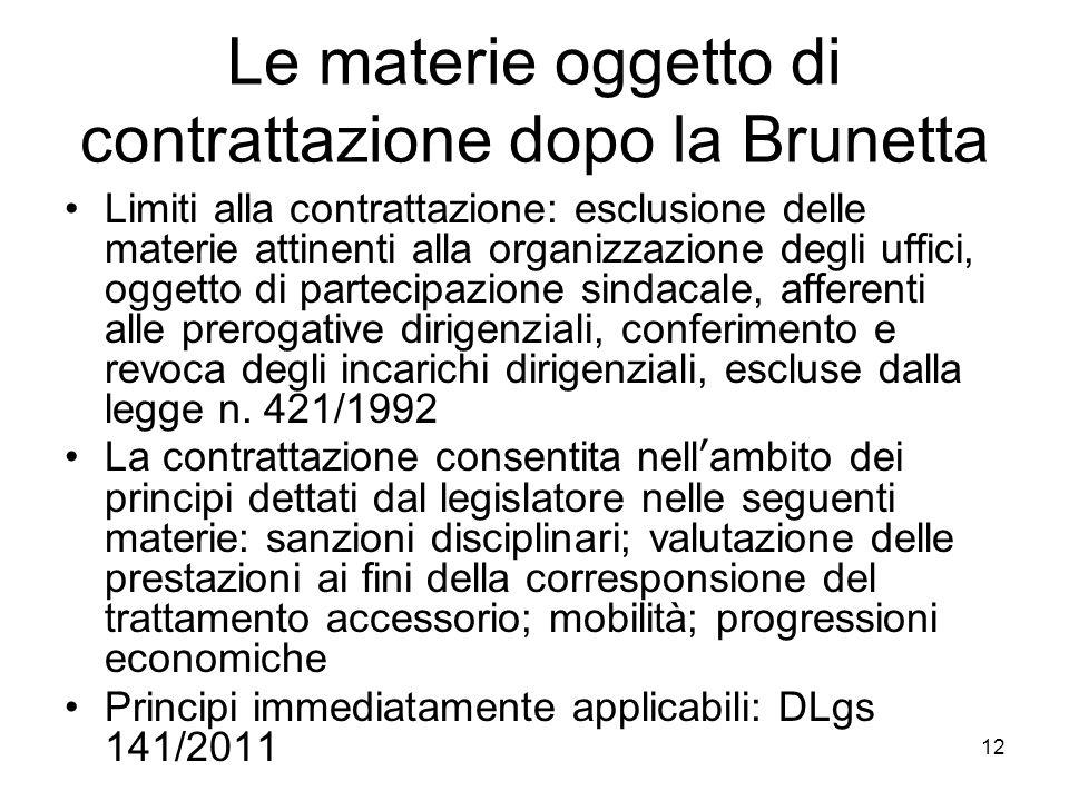 Le materie oggetto di contrattazione dopo la Brunetta