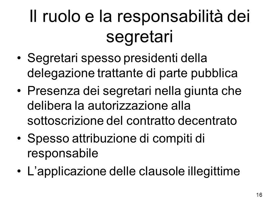 Il ruolo e la responsabilità dei segretari