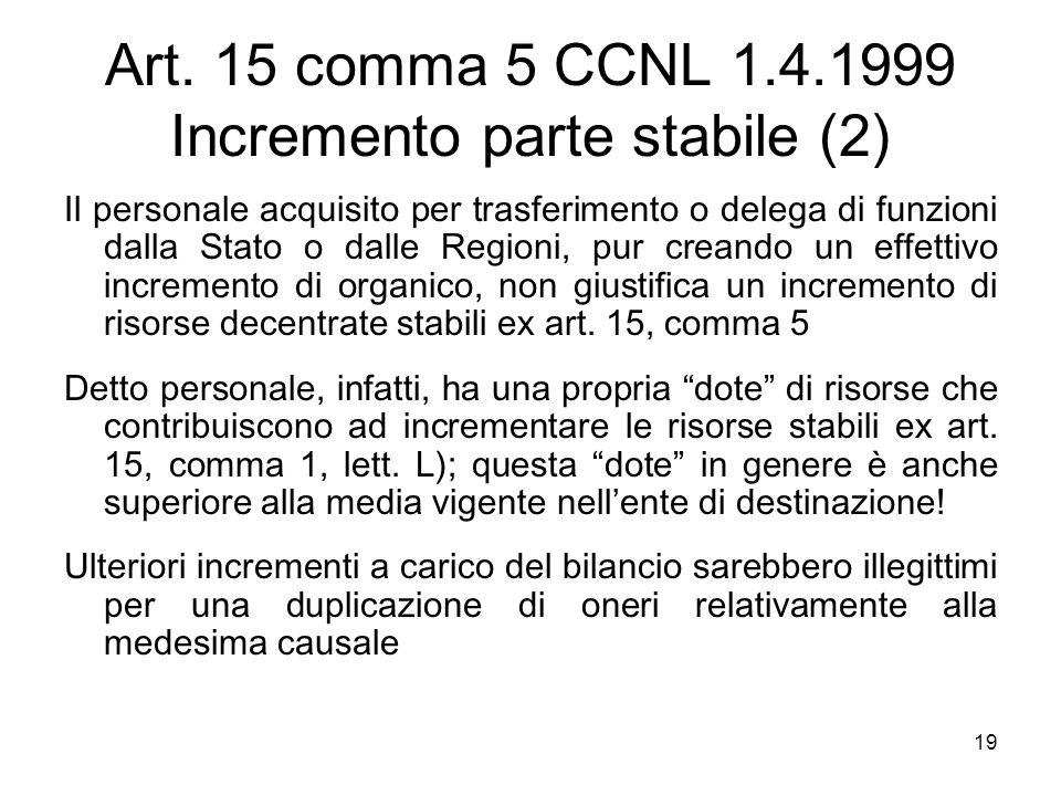 Art. 15 comma 5 CCNL 1.4.1999 Incremento parte stabile (2)