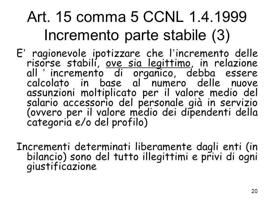 Art. 15 comma 5 CCNL 1.4.1999 Incremento parte stabile (3)