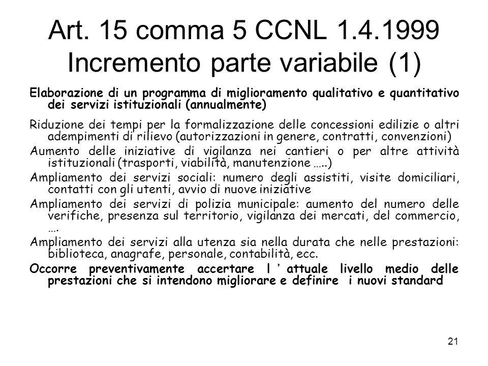 Art. 15 comma 5 CCNL 1.4.1999 Incremento parte variabile (1)