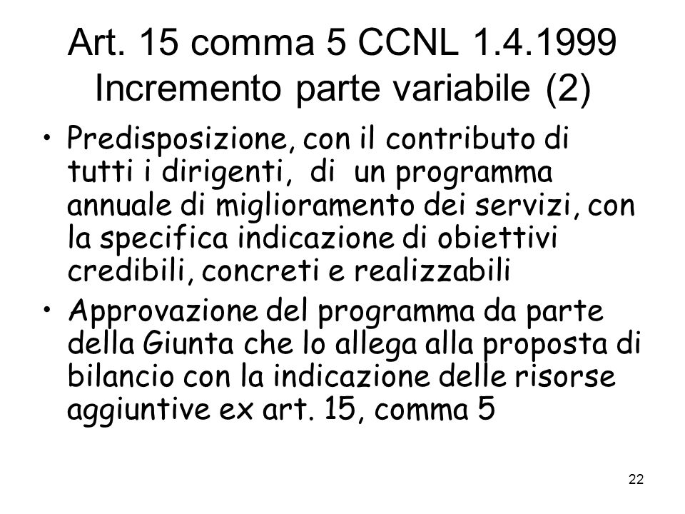 Art. 15 comma 5 CCNL 1.4.1999 Incremento parte variabile (2)