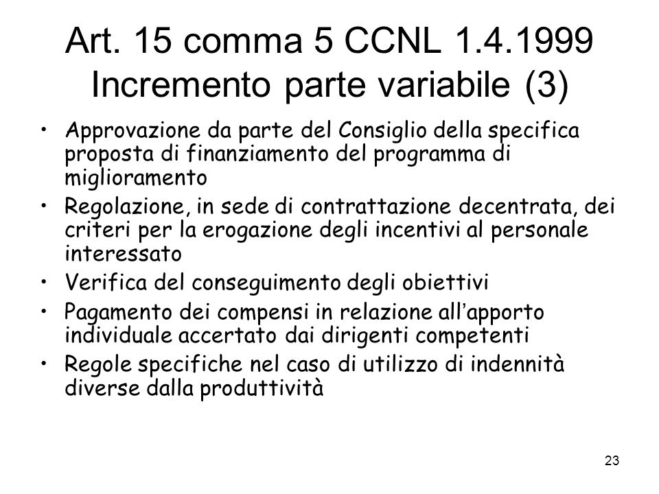 Art. 15 comma 5 CCNL 1.4.1999 Incremento parte variabile (3)